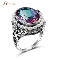 2017 European Style 925 Sterling Silver Natrual Pearl Rings Created Mystic Rainbow Topaz Vintage Ring For