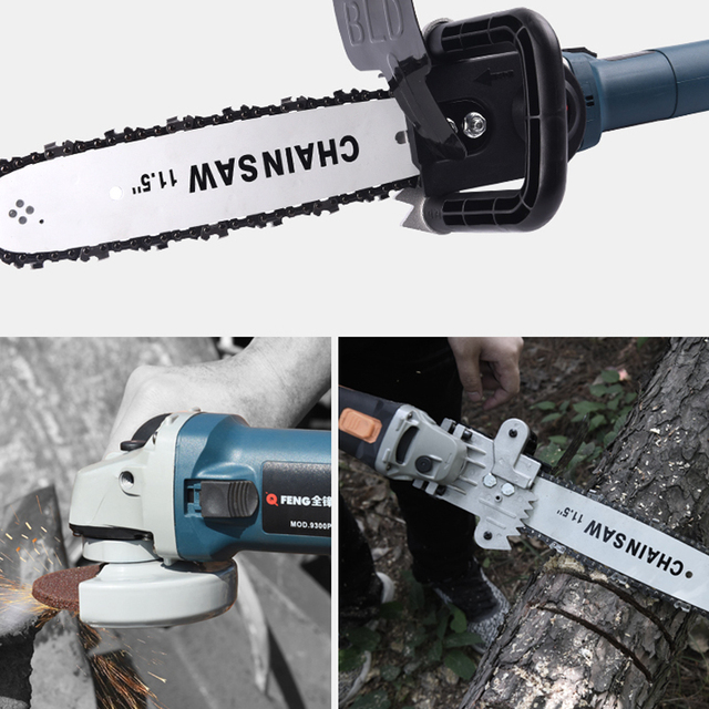 "TRANVON Multifunction Electric Chain Saw Converter Bracket DIY Set For 100mm 4"" Electric Angle Grinder Woodworking Tool QF-D001 4"