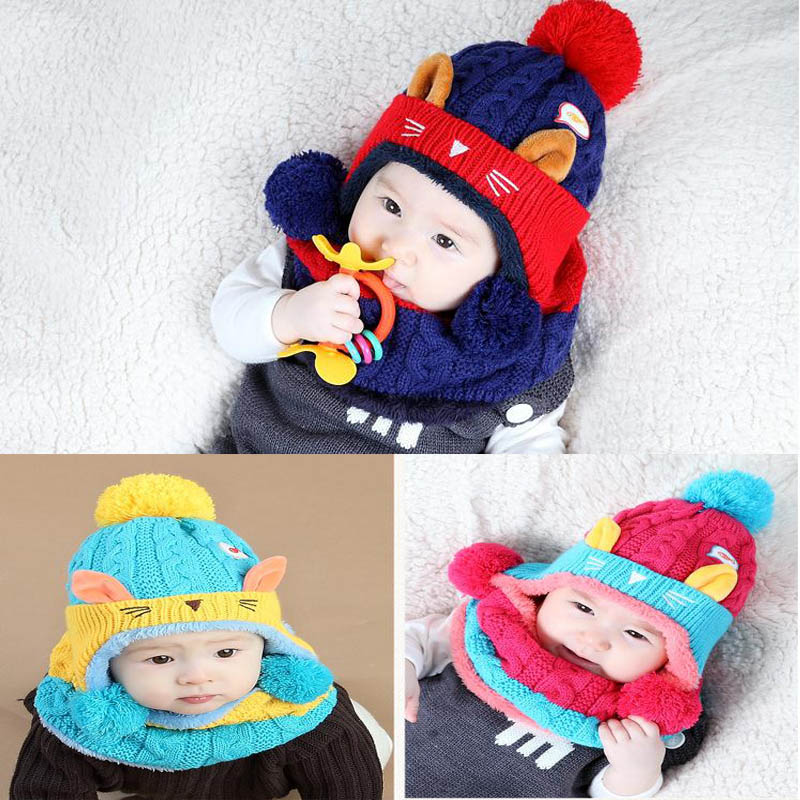 2017 Cartoon Kitten Velvet Wool Kids Boys Knitted Fur Hats Winter 2 Pcs Baby Girl Scarf Hat Set Age For 12 Months-4 Years Old