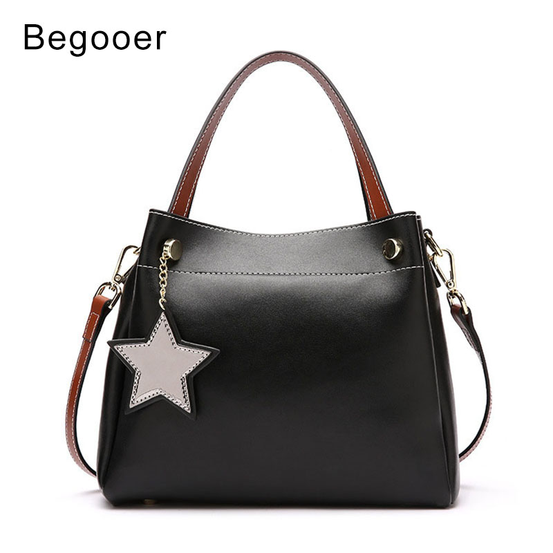 BEGOOER 2018 New Fashion Women Handbag Genuine Leather Female Panelled Bags Luxury Designer Women Shoulder Messenger Bags Lady laser anti collision security system defense system fog light warning light for car motor truck tractor in rain fog and haze
