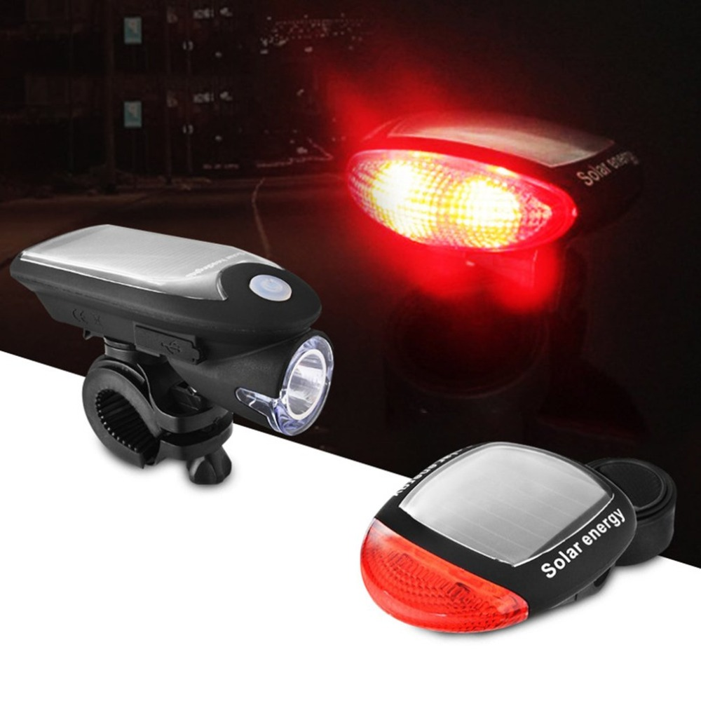 Bike Cycling T6 LED Super Bright Head Lights /& Solar Powered Rear Tail Lamps Set