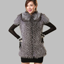 2015 Real Silver Fox Fur Vest Women Luxurious echte pelz weste Fox Fur Vests Warm Collar BF-V0124