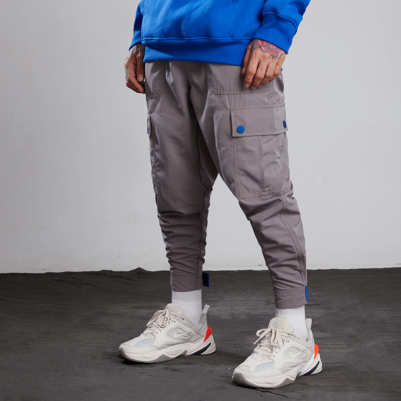 2018 Men Multi-Pocket Elastic Waist Design Harem Pant Street Punk Hip Hop