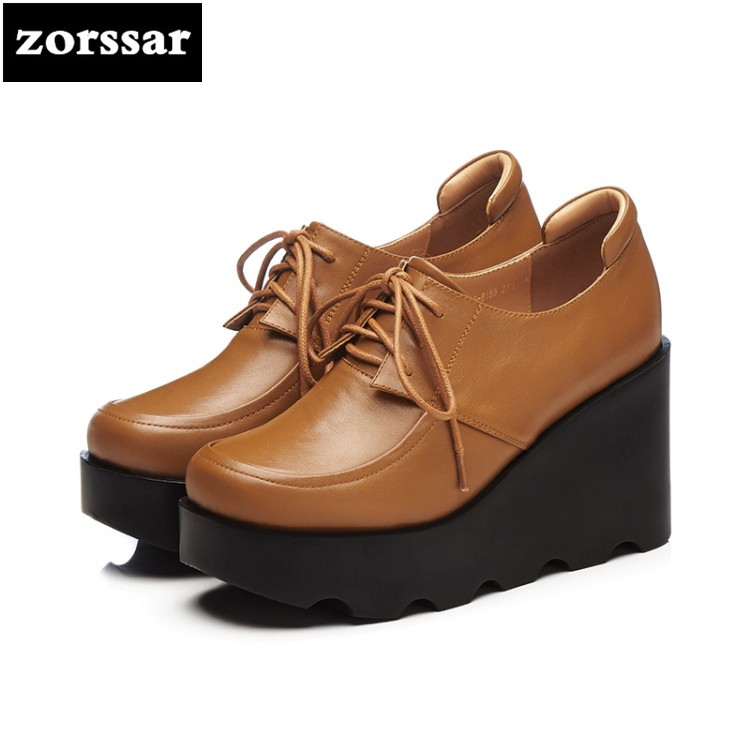 {Zorssar} 2018 fashion Genuine Leather womens shoes Platform heels Lace-up Wedges High heels pumps ladies Creepers shoes casual zorssar brand 2018 new womens creepers shoes heels casual wedges high heels pumps shoes fashion suede women platform shoes