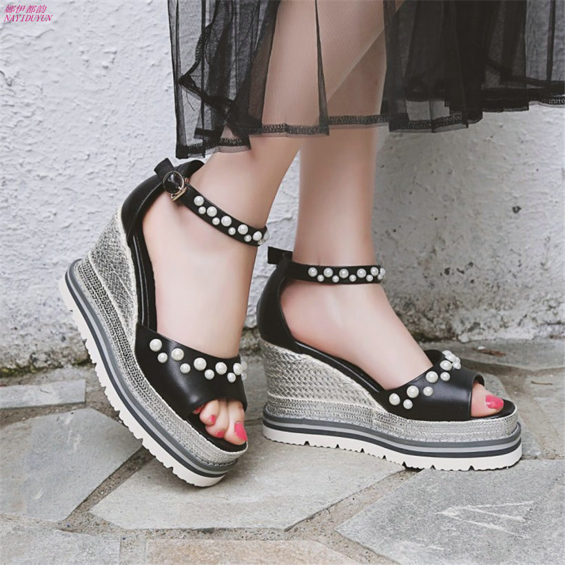 9de333ea75e NAYIDUYUN 2018 Women Cow Leather Ankle Strap Platform Wedge Roman Gladiator  Sandals Super High Heels Wedding Party Pumps Shoes - aliexpress.com -  imall.com