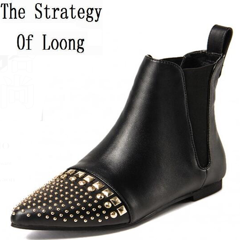 Women Spring Autumn Flats Full Grain Leather Pointed Toe Rivets Fashion Ankle Martin Boots Size 34-39 SXQ0910 цены онлайн
