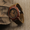 BOBO BIRD Luxury Watch Men Famous Brand Turtle Red Wood Men's Watches Genuine Leather Male Wristwatch relogios homem I12