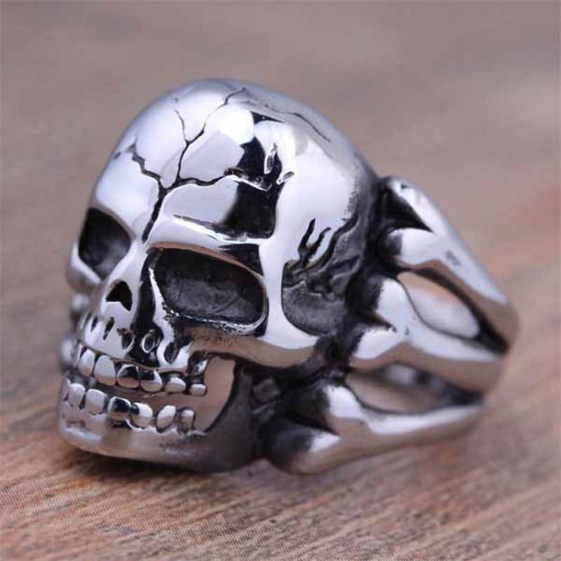 CUTEECO 2018 Man's Ring Gothic Men's Skull Flower Biker Zinc Alloy Ring Man Fashion Rings Jewelry Gift Free shipping