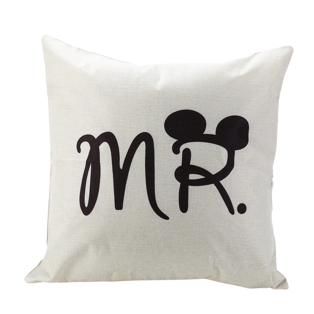 Mr And Mrs Pillow Cover Love Couple Pillow Cases Letter Cushion
