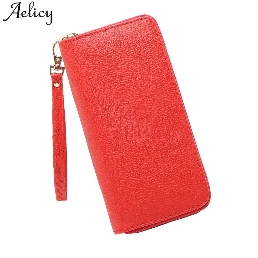 Aelicy PU Leather Fashion Women Lichee Pattern Wallet Solid 2018 Fashion Leather Wallet Female Women Purse Long Women's Purses