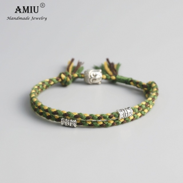 AMIU Tibetan Buddhist Lucky Woven Amulet Tibetan Cord Bracelets & Bangles Handmade 3