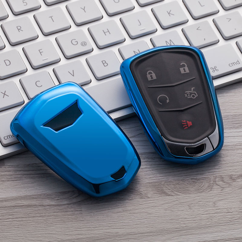 Blue Smart TPU Key Cover Fob Case For Cadillac ATS CTS CT6