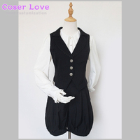 Classic Lolita Outfits Neverland Black V Neck Sleeveless Waistcoat With Shorts !