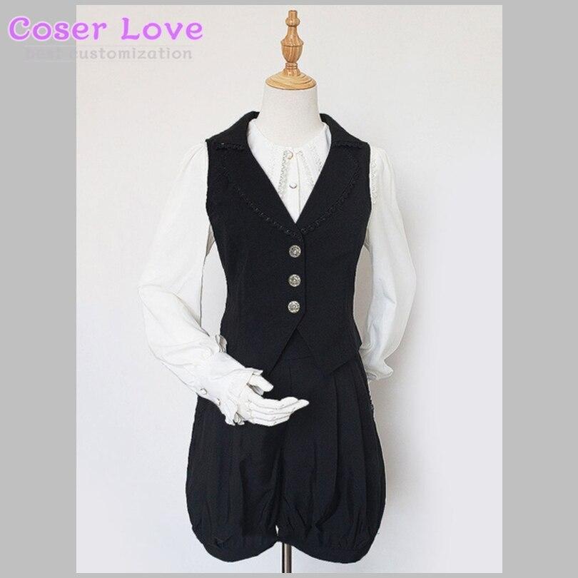Classique Lolita tenues Neverland noir col en V sans manches gilet avec short!