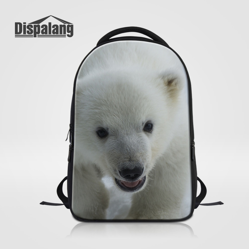 Dispalang Men Women Laptop Backpack Polar Bear Print School Bag Animal Large Travel Shoulder Notebook Bag Computer Rucksack army green men women laptop backpack 15 15 6inch rucksack school bag travel waterproof backpack men notebook computer bag black
