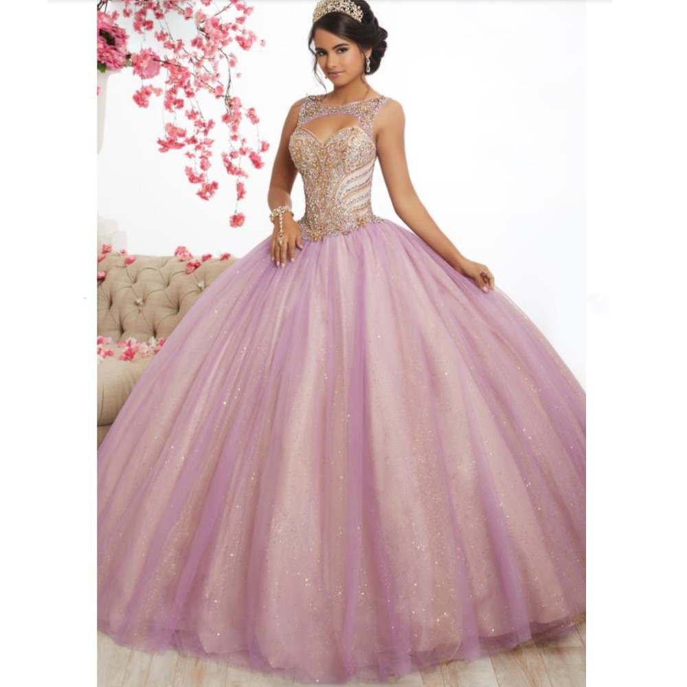 Pink Tulle Long Prom Dresses Ball Gowns 2019 New Design Beading Top Sweet 16 Dress Evening