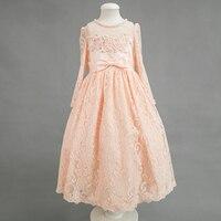 Nimble New Arrival Summer Clothes Organza Flower Jacquard Tail Dresses Princess Wedding Pattern Bridesmaid Girl Dress