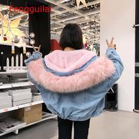 Winter Warm Denim Coats Jackets Female Fur Trim Hood Cotton Liner Casual Jackets Women Harajuku Plus Size Loose Outerwear