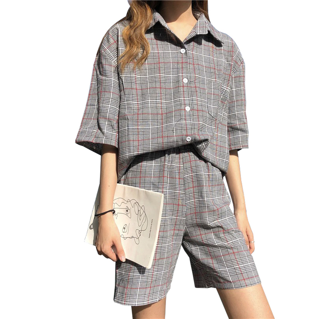 2019 New Plaid Women's Suit Casual Summer Outfits Fashion Short Sleeve Shirts With Shorts For Women Two Pieces Female Set