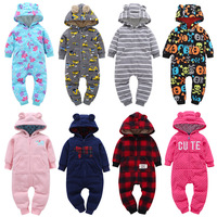 2018 Baby Rompers Winter Thick Climbing Cotton Clothes Newborn Boys Girls Warm Zipper Romper Knitted Sweater
