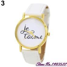 Summer Style   Trendy Style Watch Women's Men's Je T'aime Couple Lover Faux Leather Quartz Analog Wrist Watch 5RVH W2E8D
