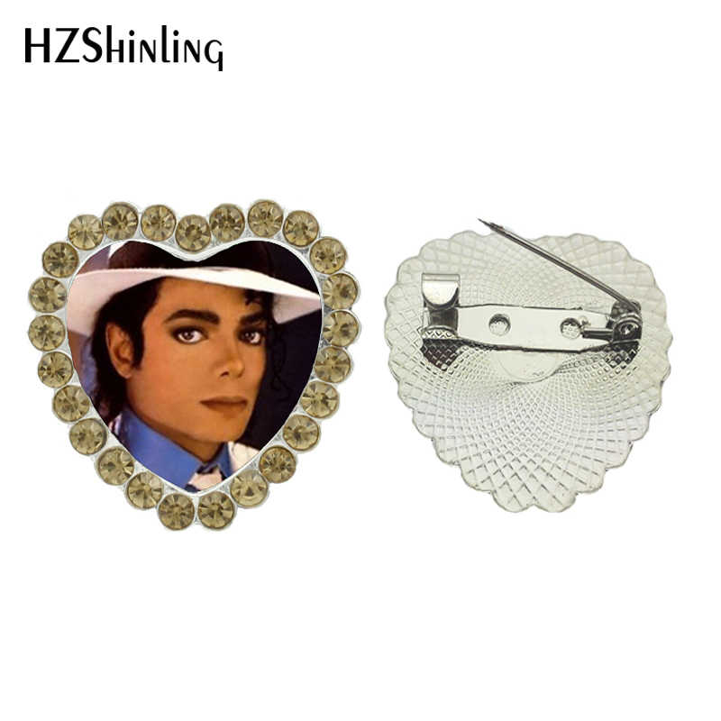 2017 Baru Klasik Michael Jantung Bros King Of Pop Kristal Pin Kaca Bros Handmade Foto Pin Hadiah Fan