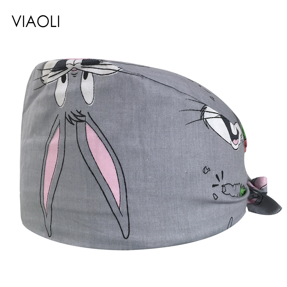Surgical Caps Men And Women Operating Room Hat Chemotherapy Baotou Cap Oral Dental Printing Cotton Thin Section Doctor Nurse Cap