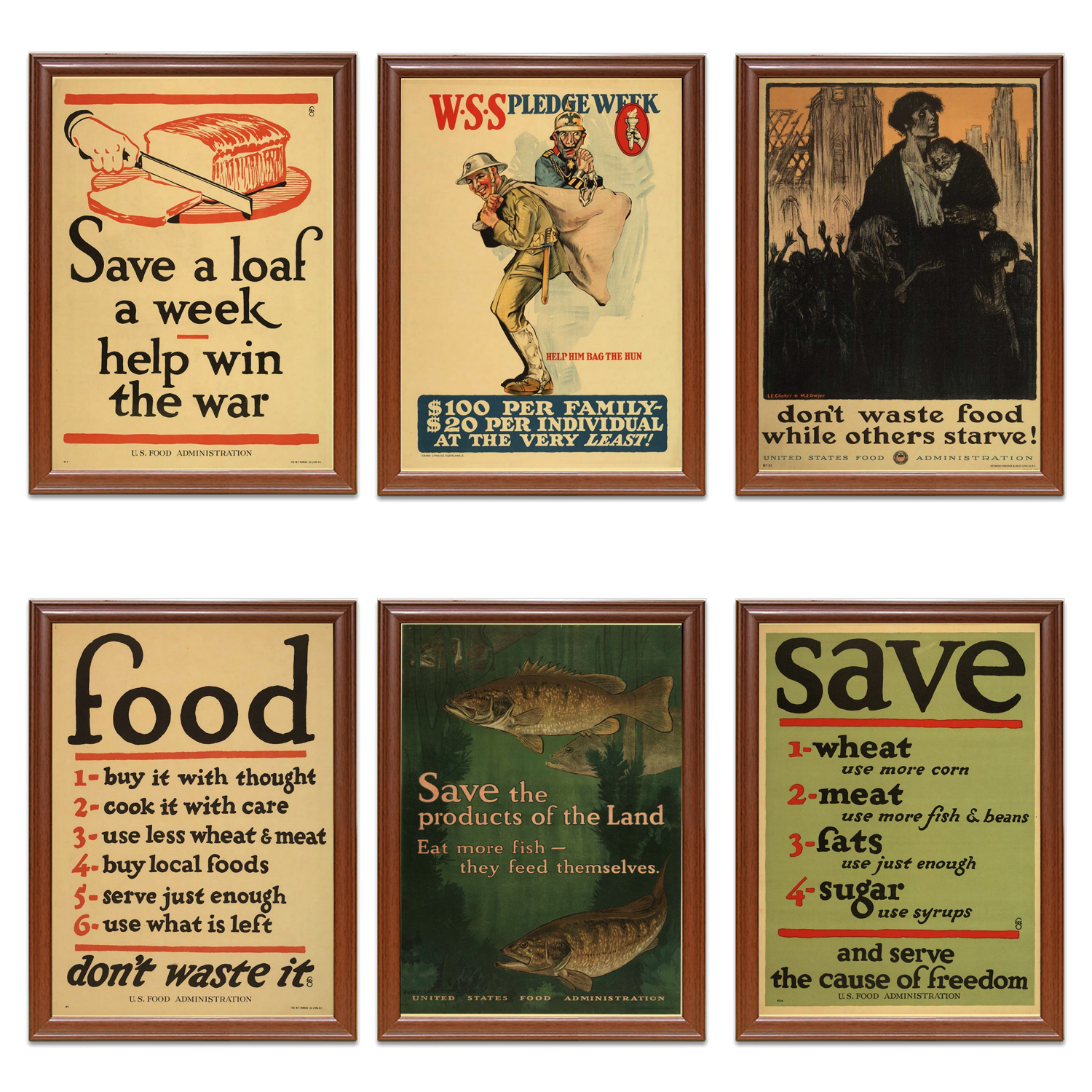 VINTAGE WASTE NOT WANT NOT FOOD WAR POSTER A3 PRINT