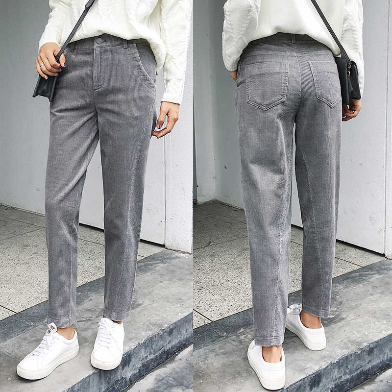 ae77bc767f6 Women Corduroy Pants 2018 Autumn Winter Vintage Solid Casual Pleated Office  Laldy High Waist Harem Pant
