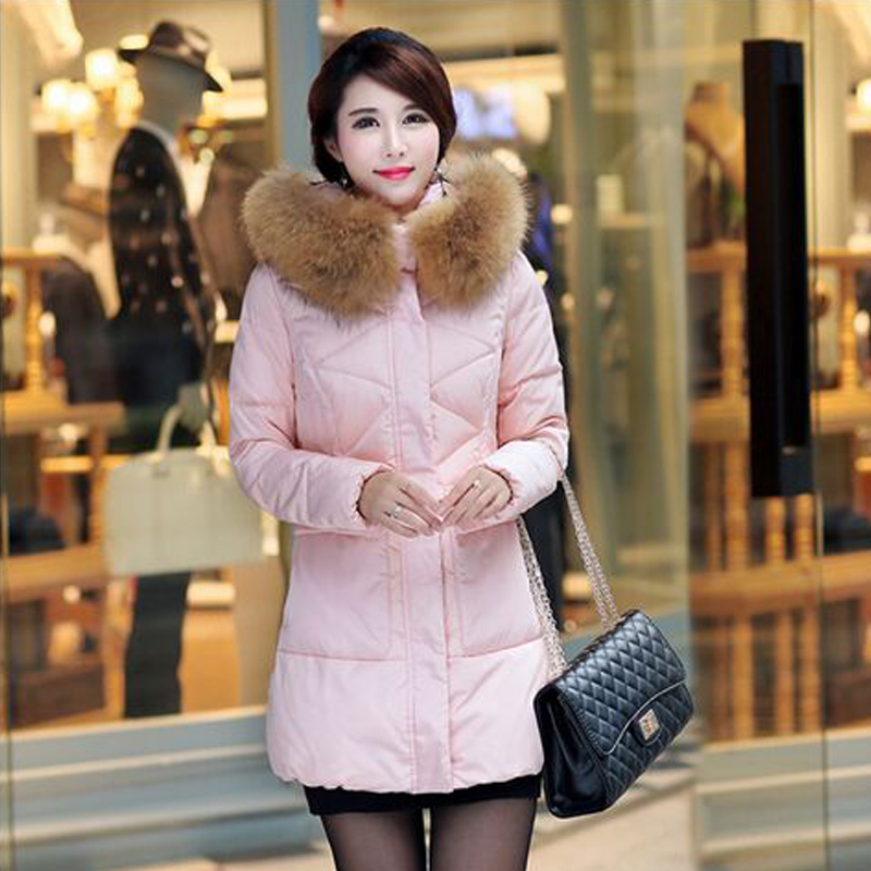 ФОТО Winter Jacket Women 2016 Large Real Raccoon Fur Collar Thicken Cotton Down Jacket Female Parkas Outwear Casacos