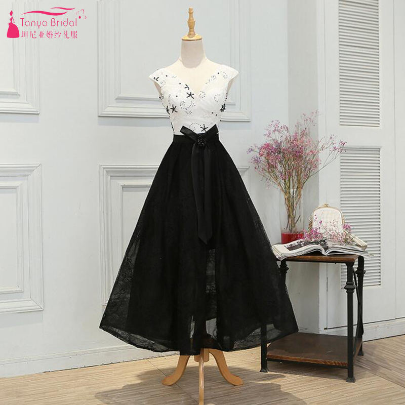 Black And White Lace Prom Dresses Ankle Length Swing A Line special Occasion Dresses With Beaded