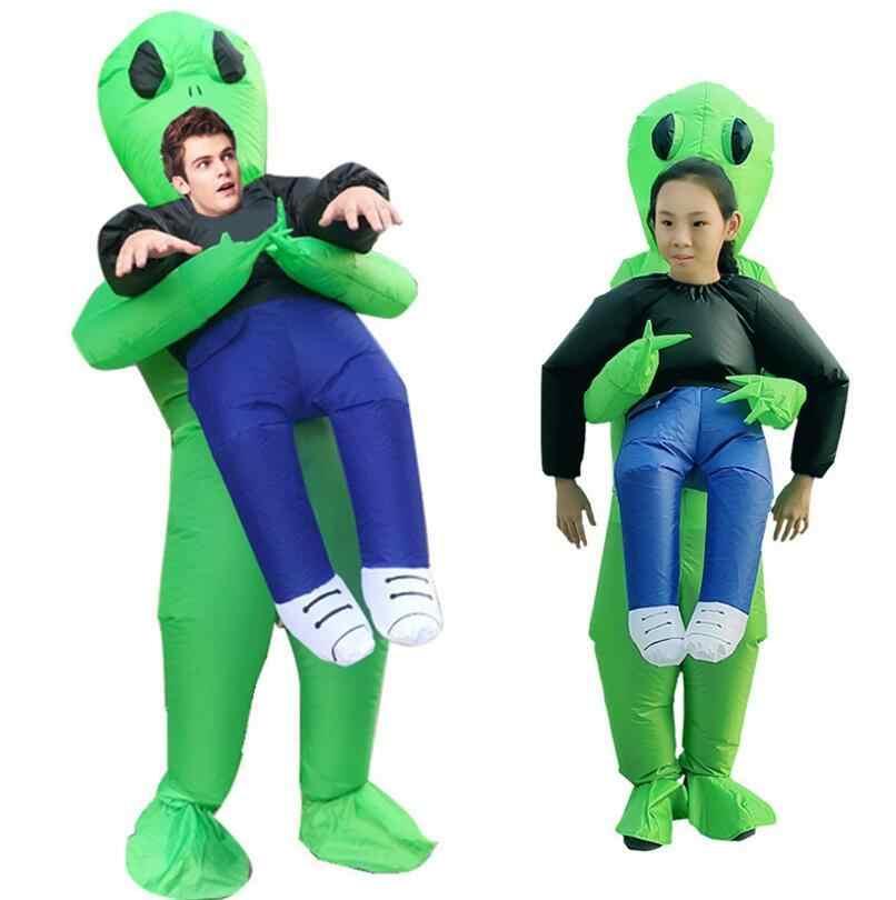 ใหม่ Inflatable สีเขียว alien กระเป๋าถือมนุษย์เครื่องแต่งกายผู้ใหญ่เด็กตลก Blow Up ชุดปาร์ตี้ชุดแฟนซีฮาโลวีน unisex หญิง