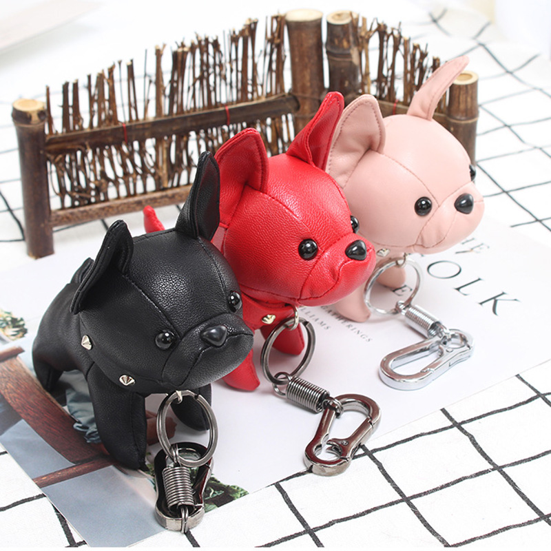 Marcatsa Bulldog Keychain Pu Leather Animal Dog Bull Terrier Key ring Bag Charm keychains for women jewelry Punk Style car key punk style solid color hollow out ring for women