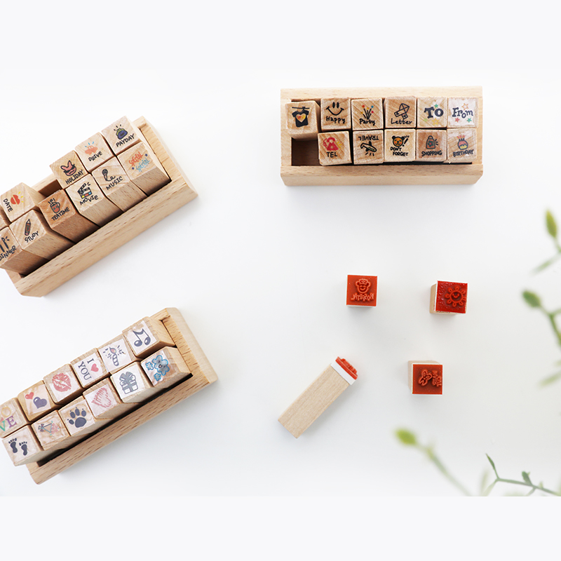 12pcs/set Wooden Seal Stamp Weather Cute Things Animals DIY Diary Making Mini Lovely Stamps School Supplies Kawaii Stationery
