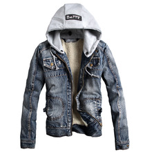 Man Spring 2015 New Arrival Korea Style Thicken Cotton Jeans Jacket Men Plus Size Blue Denim Jacket With Hood For Men Coat H5409