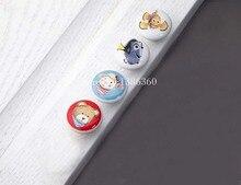 Детская комната мультфильм обрабатывать В Поисках Немо ручка ручной ничья большой круг комод двери handlle керамическая ручка последние CP479