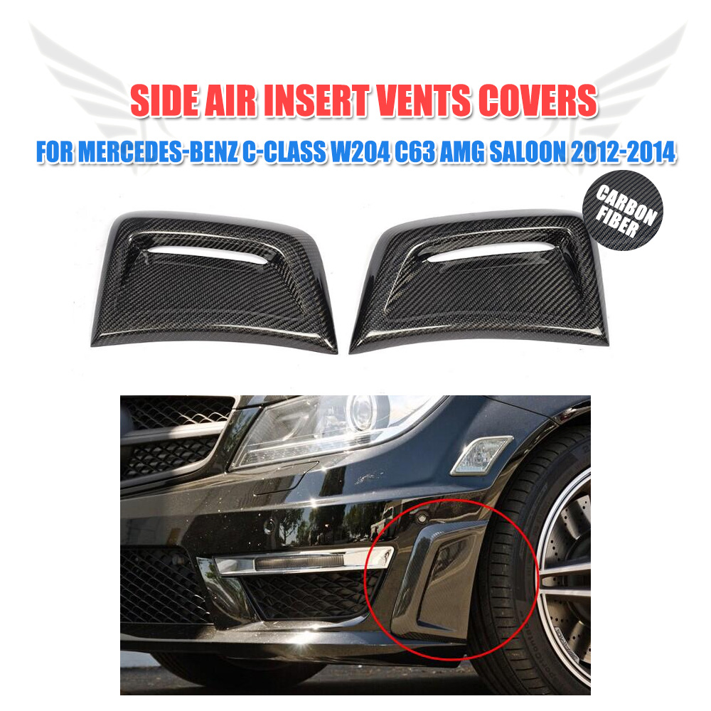 2PCS Carbon Fiber Side Bumper Air Fender Vents Flow decorative Sticker plug for Mercedes Benz C Class W204 C63 AMG 2012-2014 mercedes w176 carbon fiber rear bumper canards for benz a class a45 amg package 2012 rear air dam trimming