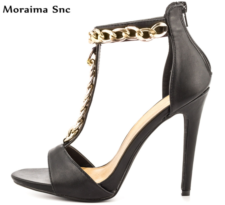 Moraima Snc Newest sexy women Concise type sandals open toe Metal T-bar chain Decoration thin high heel Ankle strap moraima snc newest sexy women black string bead concise type sandals open toe thin high heel ankle strap hook solid party shoes