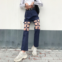 Sexy Women Pants Hollow Straight Overalls High Waist Loose Trousers 2019 New Summer Crunge Style Female Pants Drop Shipping