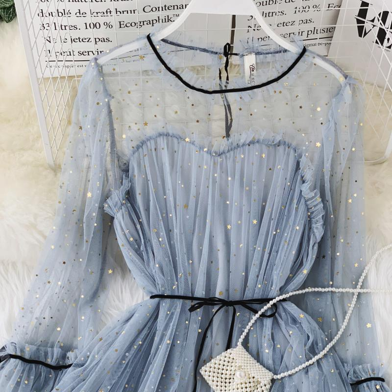 HISUMA spring autumn new women Star sequins gauze flare sleeve lace-up Princess dress female elegant o-neck mesh puff dresses 47