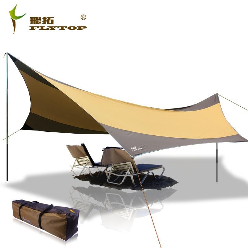 Flytop High quality 550cm 560cm iron poles UV beach tent sun shelter camping tent awning tarp