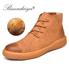 BIMUDUIYU Boots Men Autumn Winter Men Snow Boots Size 38~47 Warmest Cow Leather Ankle Work Boots Wear Comfort Winter Casual Shoe