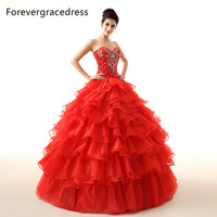 Forevergracedress熱いリアル画像レッドquinceaneraのドレス高品質ロングフリルビーズ背中の開いたフォーマルパーティーガウンプラスサイ