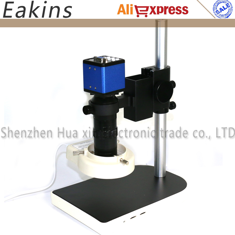 All set 2.0MP Digital Industrial Microscope VGA Camera 1/3+100X C-Mount Lens+56 LED Ring light+stand holder For PCB /Lab repair 1080p vga outputs mini industry microscope camera 100x c mount lens 32 led adjustable ring light for lab pcb mobile phone repair