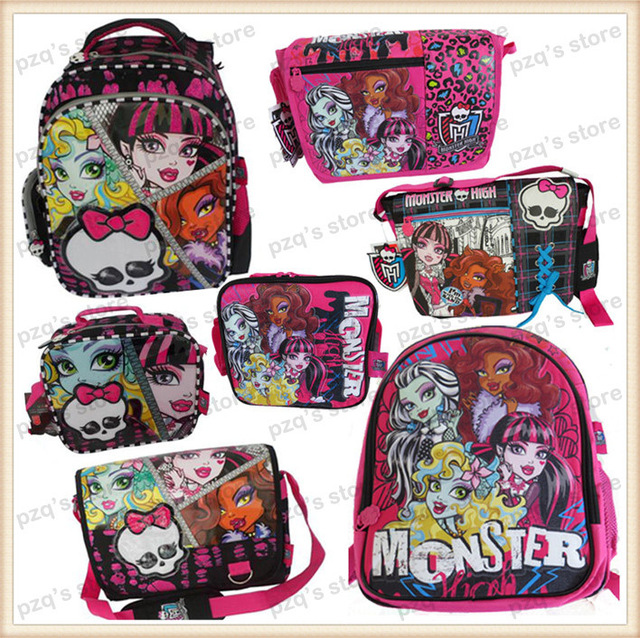 2ae5d1658c91 US $14.5  Free Shipping Kid Cartoon Monster High School Pencil Case Student  Messenger Lunch Box Bag Backpack Set Girl Gift For Children-in School Bags  ...