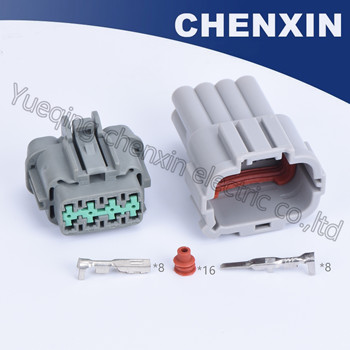 Gray 8pins car waterproof auto connector (green blue zip) female and male, including terminals and seal waterproof plugging