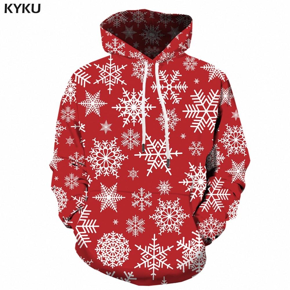 KYKU Christmas Hoodies Men Sweatshirt Red Hip Hop 3d Print Hoodie Xmas Snowflake Sweatshirt Pullover Hooded Funny Mens Clothing