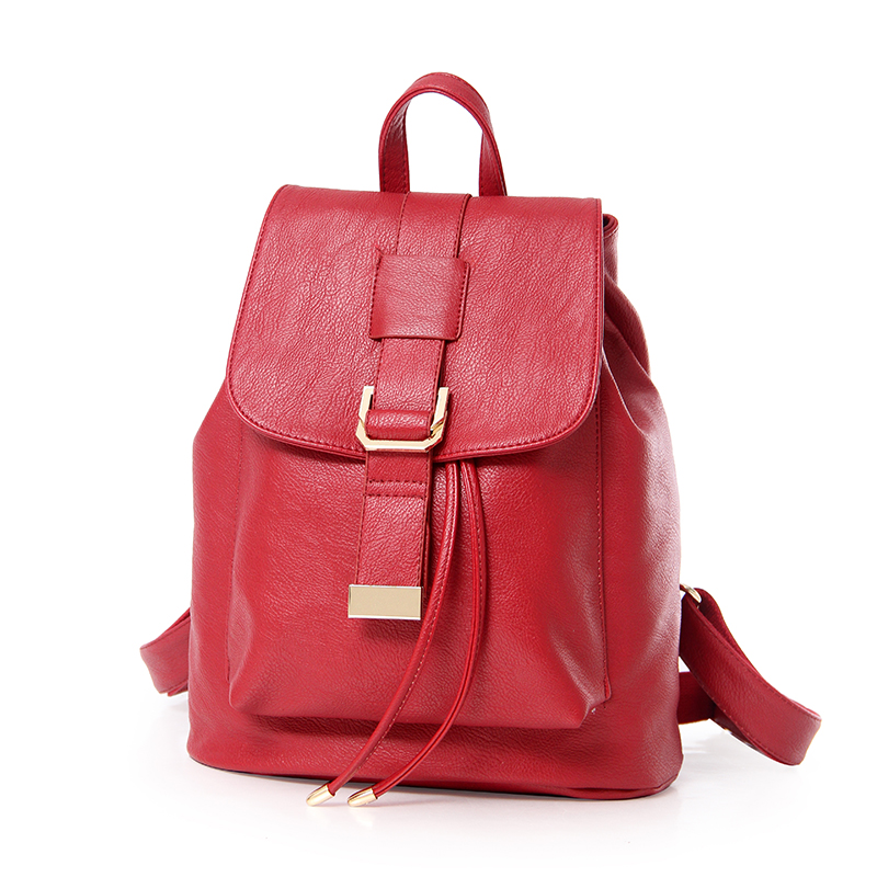 ФОТО 2017 New Arrival High Quality Women Solid Backpacks PU Leather Fresh Style Schoolbags   STA811 Bur gundy