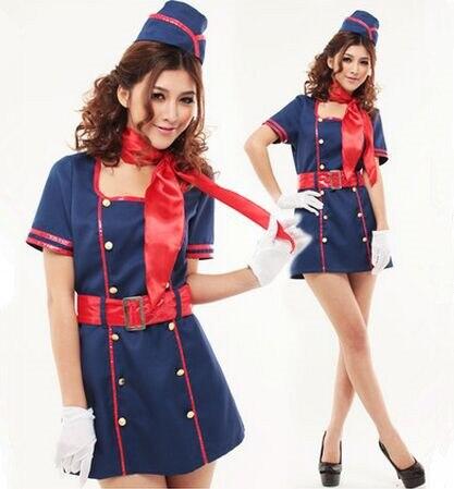 airline stewardess costume airline stewardess uniforms blue uniform dress for women halloween costumes military dancer costumes