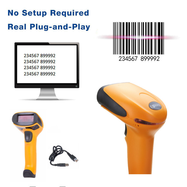 Portable USB Laser Barcode Scanner Automatic Bar Code Scan Reader With Stand Handheld POS For Business Supermarket 2